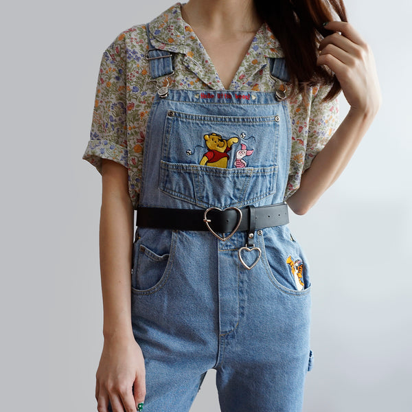 Vintage Pooh & Bees Denim Overalls (Light Blue)