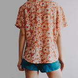 Vintage False Sunflower Button Up Shirt (Coral Peach)