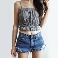 Frilly Ruched Cami Crop Top (Black Gingham)