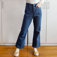 Stripe Kick Flare Jeans (Dark Denim)