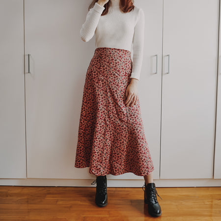 Corduroy Ditsy Floral Midi Skirt (3 Colors)