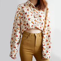 Retro Daisy Corduroy Button Up Shirt (3 Colors)