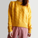 Embroidered Floral Cable Knit Sweater (Golden Mustard)