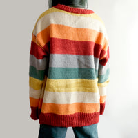 Autumn Rainbow Sweater/Cardigan (Red/Orange)