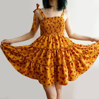 Rose Floral Tiered Babydoll Dress (Yellow)