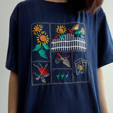 Sunflower Cottage Embroidered Shirt (Navy)