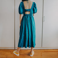 Puff Sleeve Cutout Midi Dress (Teal)