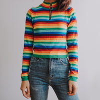 Stripe Zip Up Mock Neck Sweater (Rainbow)