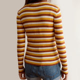 Colorblock Stripe Ribbed Sweater (Mustard/White)