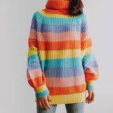 Pastel Turtleneck Stripe Sweater (Rainbow)