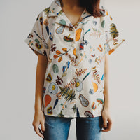 Plants & Veggies Button Up Shirt (White)