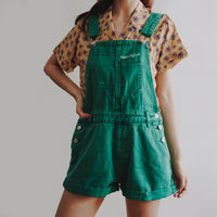 Cuffed Denim Short Overalls (Emerald Green)