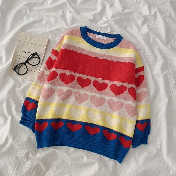 Colorblock Hearts Stripe Sweater (2 Colors)