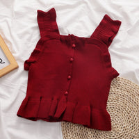 Button Frilly Crop Top (7 Colors)