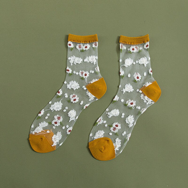 Sheer Daisy Socks (7 Colors)