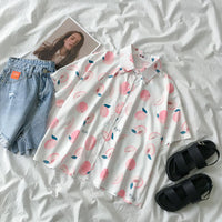 Peach Button Up Shirt (White/Pink)