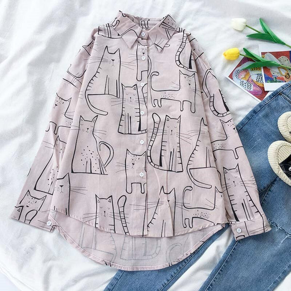 Cat Outline Button Up Shirt (3 Colors)