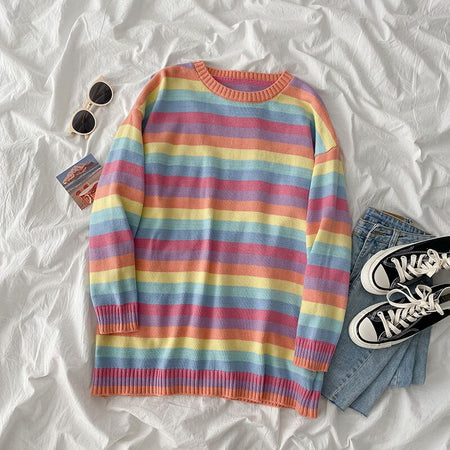 Rainbow Long Sweater (2 Colors)