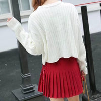 Varsity Ribbed Cropped Sweater (3 Colors)