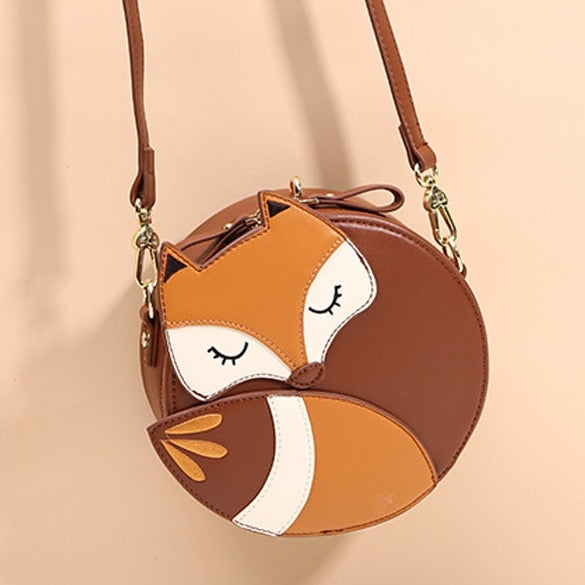 Sleepy Fox Crossbody Bag (Brown)