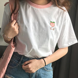Embroidered Fruit Ringer Tee (5 Colors)