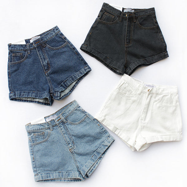 Cuffed Denim High Waist Shorts (4 Colors)