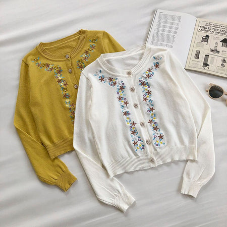 Pearly Floral Embroidered Cardigan (2 Colors)