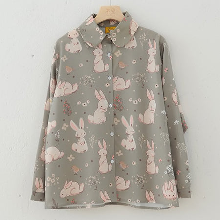 Sweet Bunny Button Up Shirt (Sage Green)