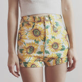 Cuffed Sunflower High Waist Shorts (White/Yellow)