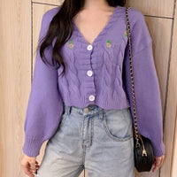 Floral Embroidered Cable Knit Cropped Cardigan (3 Colors)