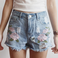 Rose Denim Shorts (Light Blue)