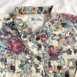 Vintage Paris Blues Garden Floral Cropped Jacket (Cream)