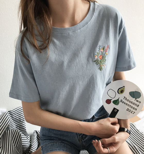Embroidered Floral Patch Shirt (2 Colors)