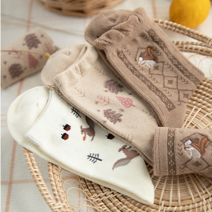 Woodland Squirrel Sock Set (Beige/Brown)