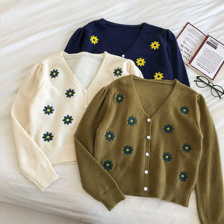 Embroidered Daisy Cardigan (3 Colors)