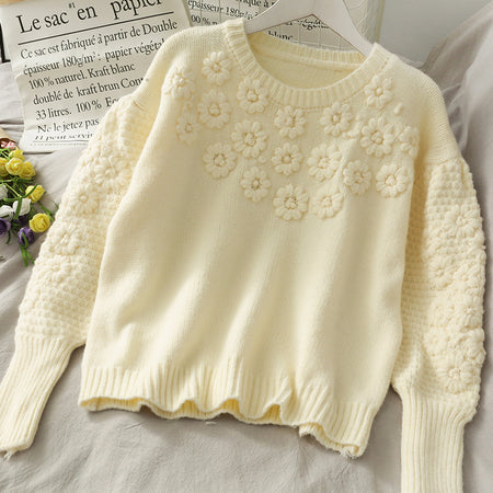 Embroidered Daisy Sweater (4 Colors)
