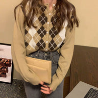 Argyle Plaid Cardigan (4 Colors)