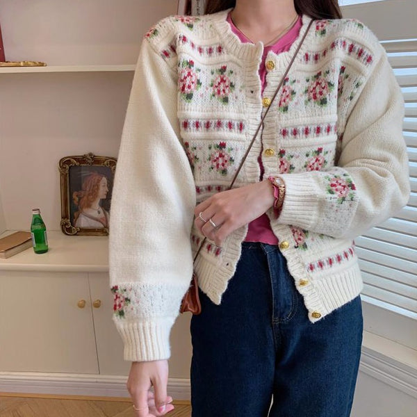 Sweet Rose Cardigan (Cream)