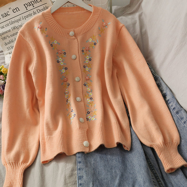 Floral Embroidered Cardigan (2 Colors)