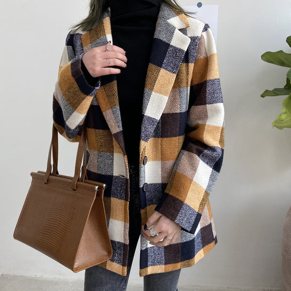 Pumpkin Spice Plaid Coat (Brown)