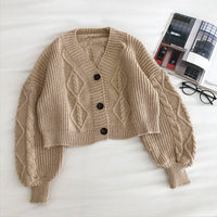 Cropped Cable Knit Cardigan (6 Colors)