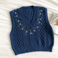 Embroidered Floral Sweater Vest (5 Colors)
