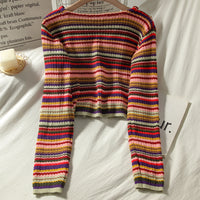 Multicolored Stripe Cropped Cardigan (Pink/Green)