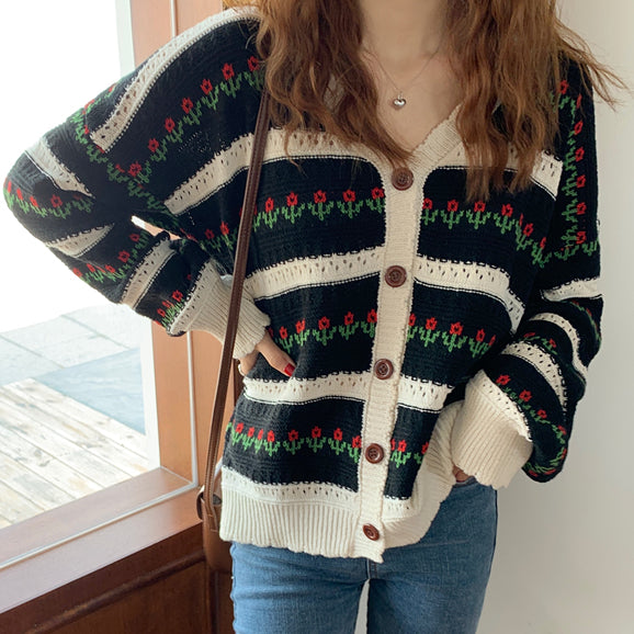 Floral Stripe Cardigan (2 Colors)