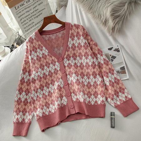 Argyle Plaid Knit Cardigan (Pink)