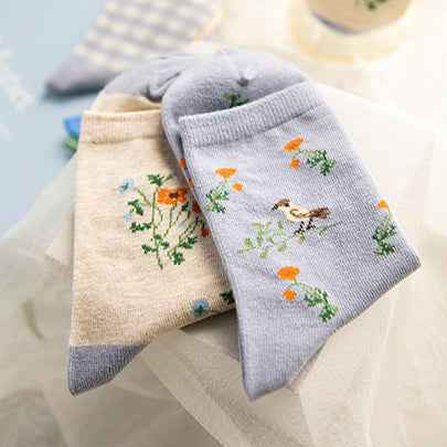 Garden Picnic Sock Set (Cream/Blue)