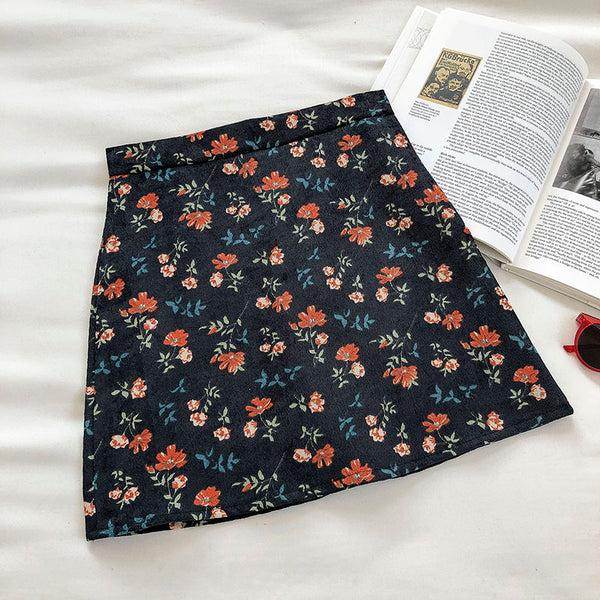 Corduroy Floral Mini Skirt (2 Colors)
