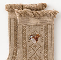 Squirrel Floral Sock Set (Khaki/Brown)