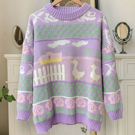 Farm Ducks Sweater (Lilac)