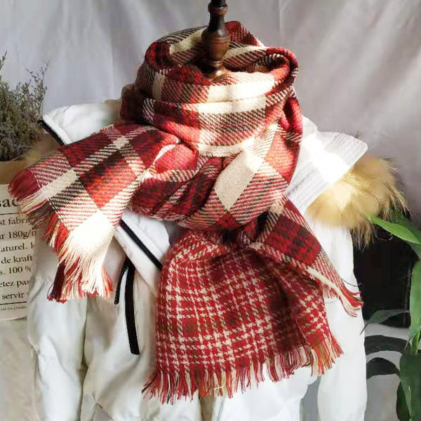 Double Checkered Plaid Scarf (3 Colors)